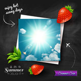 Card with hot summer sun on a chalkboard background. Vector imag Stock Images