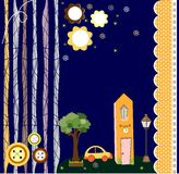 Card with houses. Vector paper-art Stock Photography