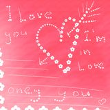 Card i love you. Card with love from flowers and hearts Stock Photo