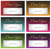 Card I love You - golden text on a background of red hearts. Card I love You - golden text I love You on a background of red hearts and fields for your text Royalty Free Stock Photography
