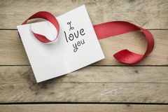Card I love you on wooden background Stock Photography