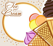 Card with ice cream Royalty Free Stock Photography