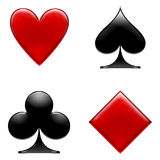Card icons. Clubs,hearts,diamonds and spades Stock Photography