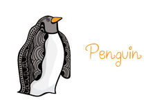 Card illustration of penguin, hand drawn original artwork. Royalty Free Stock Photo