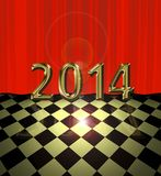 2014 card. Illustration of wall curtain scene and floor with spot light and flare with new year theme vector illustration