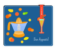 The card with the image of the citrus juicer and the fruits Label Stock Photo