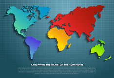 Card with the image of the continents. World map of the continents. Vector illustration. Background with map Royalty Free Stock Photos