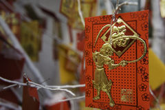 Card with the image of a monkey hanging on a Christmas tree. TET coming soon. Chinese New Year Royalty Free Stock Image