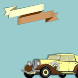 Card with the image of a retro car and ribbon Royalty Free Stock Photography