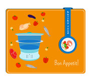 The card with the image of the steamer and the ingredients for cooking. Royalty Free Stock Image