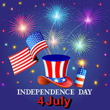Card Independence Day with fireworks hat and the flag Royalty Free Stock Photos