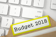 Card Index with Budget 2018. 3D. Stock Image