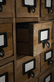 Card Index Drawer Opened in Dark Room Stock Image