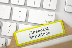 Card Index with Financial Solutions. 3D. Financial Solutions. Yellow Sort Index Card on Background of Modern Laptop Keyboard. Archive Concept. Close Up View Stock Image
