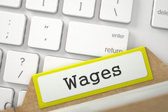 Card Index with Wages. 3D. Stock Image