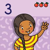 Girl showing three by hand Counting education card. Card 3. Indian girl in dress on light-violet background. Kid`s hand showing the number three hand sign Stock Photos