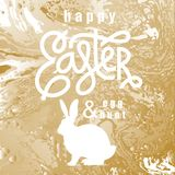 Card with wishes `Happy Easter and Egg Hunt`. Card with inscription `Happy Easter and Egg Hunt`, white silhouette of Easter Bunny, gold marble background. Vector Royalty Free Stock Photos
