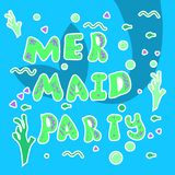Card with the inscription - mermaid party. Cartoon silhouette of a mermaid tail and letters on a blue background stock illustration