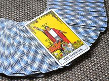 The Magician Tarot Card Power Intelect Magic Control. This card is about Intellect, Miracles, Flash of Inspiration Inspired Magic Power Plans Opportunities stock photos