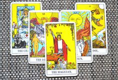 The Magician Tarot Card Power Intelect Magic Control. This card is about Intellect, Miracles, Flash of Inspiration Inspired Magic Power Plans Opportunities stock photo
