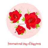 Card for International Day of Happiness. Royalty Free Stock Photos