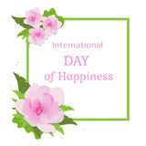 Card for International Day of Happiness. Royalty Free Stock Images