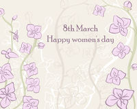 Card International Women`s Day in gentle tones. 8 March postcard vector template. Design greeting with beautiful orchids. Card International Women`s Day in Stock Photos