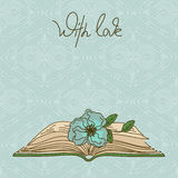 Card or invitation with book and flower Stock Images
