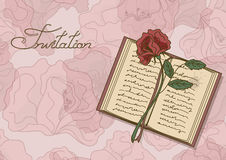 Card or invitation with book and rose flower. On a floral background Royalty Free Stock Photo