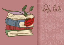 Card or invitation with books and rose flower Royalty Free Stock Photos