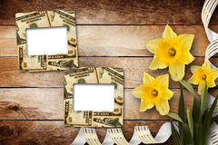 Card for invitation with bouquet of flowers narcissus Stock Image