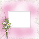 Card for invitation with bunch of flowers and Stock Photo