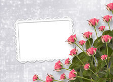 Card for invitation with bunch of flowers Royalty Free Stock Images