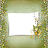 Card for invitation with bunch of willow Stock Photo