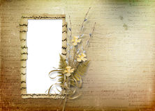 Card for invitation with bunch of willow and n Royalty Free Stock Image