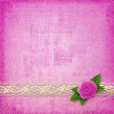 Card for invitation with buttonhole and lace Royalty Free Stock Photos