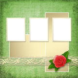 Card for invitation with buttonhole and lace Royalty Free Stock Photo