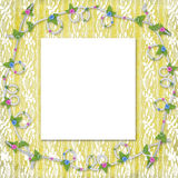 Card for invitation with buttonhole and lace Royalty Free Stock Image