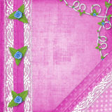Card for invitation with buttonhole and lace Stock Image
