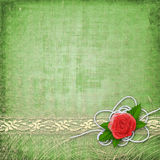 Card for invitation with buttonhole and lace Royalty Free Stock Photography