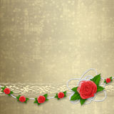 Card for invitation with buttonhole and lace Royalty Free Stock Images