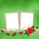 Card for invitation with buttonhole and lace Stock Photos