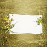 Card for invitation or congratulation. With bunch of flowers and twigs Royalty Free Stock Image