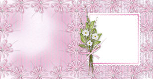 Card for invitation or congratulation with bow Royalty Free Stock Image