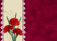 Card for invitation or congratulation with flower. Red card for invitation or congratulation with carnation and laces Stock Image