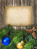Card for invitation or congratulation with pine branch and color Stock Images