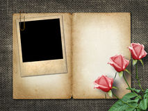 Card for invitation or congratulation with pink rose and old pho Stock Images
