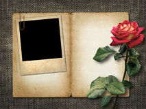 Card for invitation or congratulation with red rose and old phot Royalty Free Stock Photography