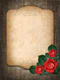 Card for invitation or congratulation with red roses Royalty Free Stock Photography