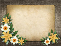 Card for invitation or congratulation with yellow lily flower Stock Photo